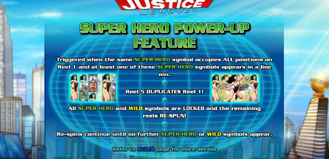 Игра Justice League - бонус Super Hero Power-Up Feature