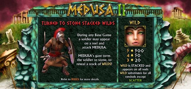 Medusa 2 - бонус тур Turned to stone stacked wilds